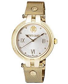 By Franck Muller Women's Diamond Swiss Quartz Gold-Tone Stainless Steel Bracelet Watch, 40mm