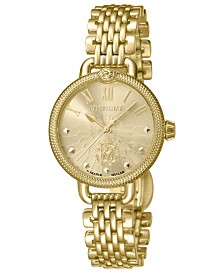 Roberto Cavalli By Franck Muller Women's Swiss Quartz Gold-Tone Stainless Steel Bracelet Watch, 30mm