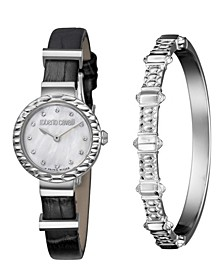 By Franck Muller Women's Diamond Swiss Quartz Black Calfskin Leather Strap Watch & Bracelet Gift Set, 26mm