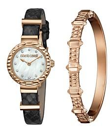 By Franck Muller Women's Diamond Swiss Quartz Black Leather Strap Watch & Bracelet Gift Set, 26mm