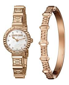 By Franck Muller Women's Diamond Swiss Quartz Rose-Tone Stainless Steel Bracelet Watch & Bracelet Gift Set, 26mm