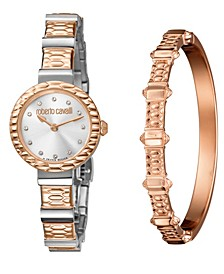 By Franck Muller Women's Swiss Quartz Two-Tone Rose Gold Stainless Steel Watch & Bracelet Gift Set, 26mm