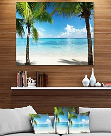 """Designart 'Palm Trees And Sea' Landscape Photography Metal Wall Art - 40"""" X 30"""""""