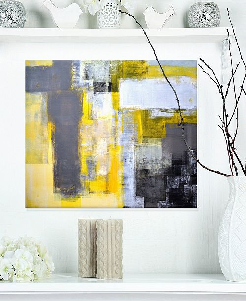 "Design Art Designart 'Grey And Yellow Blur Abstract' Abstract Metal Wall Art - 20"" X 12"""