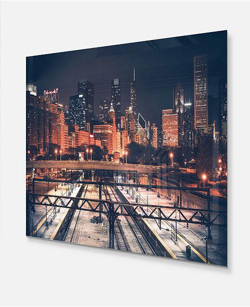 Chicago Skyline And Railroad Cityscape