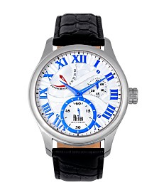 Reign Bhutan Automatic Silver Case, White and Blue Dial, Genuine Black Leather Watch 43mm