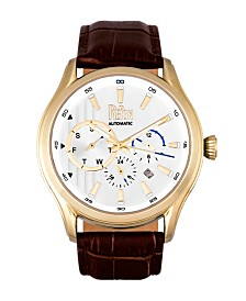 Reign Gustaf Automatic Gold Case, Genuine Brown Leather Watch 43mm