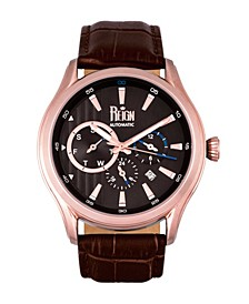 Gustaf Automatic Black Dial, Genuine Brown Leather Watch 43mm