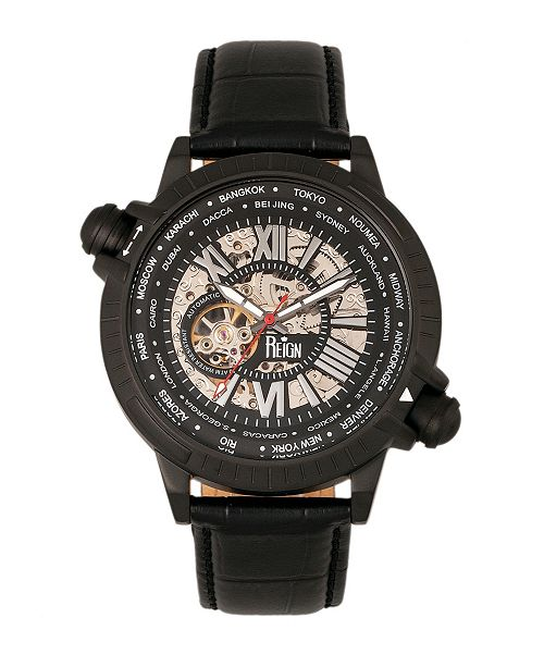 Reign Thanos Automatic Black and White Case, Genuine Black Leather Watch 47mm