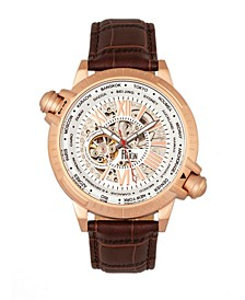 Thanos Automatic Black Dial, Rose Gold Case, Genuine Brown Leather Watch 47mm