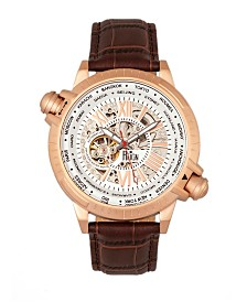 Reign Thanos Automatic Black Dial, Rose Gold Case, Genuine Brown Leather Watch 47mm