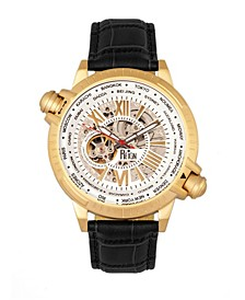 Thanos Automatic White Dial, Gold Case, Genuine Black Leather Watch 47mm