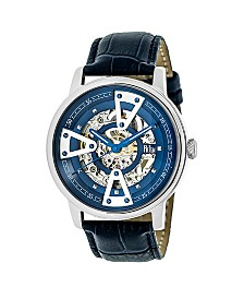 Reign Belfour Automatic Blue Dial, Genuine Black Leather Watch 44mm
