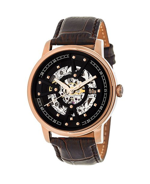 Reign Belfour Automatic Rose Gold Case, Genuine Black Leather Watch 44mm