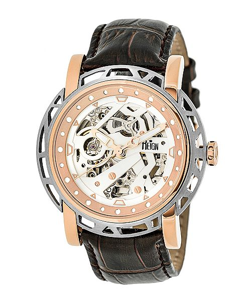 Reign Stavros Automatic Rose Gold Case, Genuine Dark Brown Leather Watch 44mm