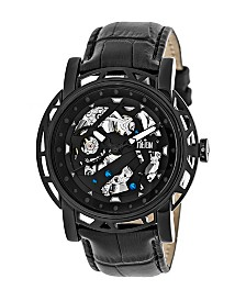 Reign Stavros Automatic Black Case, Genuine Black Leather Watch 44mm