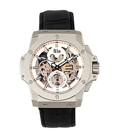 Reign Commodus Automatic White Dial, Silver Case, Genuine Black Leather Watch 48mm