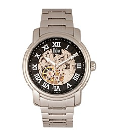 Reign Kahn Automatic Black Dial, Skeleton Silver Stainless Steel Watch 45mm