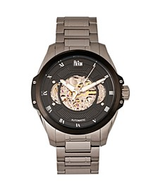 Henley Automatic Black Dial, Semi-Skeleton Silver Stainless Steel Watch 44mm