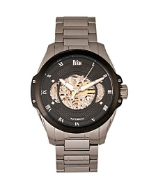 Reign Henley Automatic Black Dial, Semi-Skeleton Silver Stainless Steel Watch 44mm