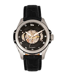 Reign Henley Automatic Semi-Skeleton Black Dial, Genuine Black Leather Watch 44mm