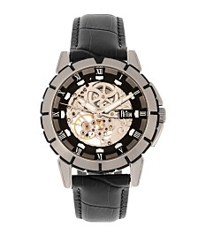 Reign Philippe Automatic Black Dial, Genuine Black Leather Watch 41mm