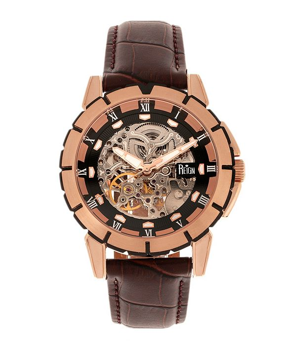 Reign Philippe Automatic Rose Gold Case, Black Dial, Genuine Brown Leather Watch 41mm