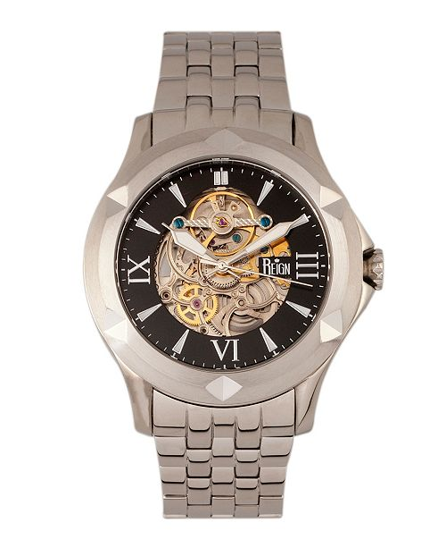 Reign Dantes Automatic Black Dial, Skeleton Dial Silver Stainless Steel Watch 47mm