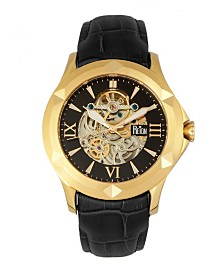 Reign Dantes Automatic Gold Case, Genuine Black Leather Watch 47mm