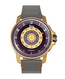 Monarch Automatic Rose Gold Case, Genuine Grey Leather Watch 46mm