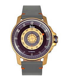 Reign Monarch Automatic Rose Gold Case, Genuine Grey Leather Watch 46mm