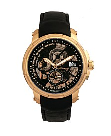 Reign Matheson Automatic Black Dial, Gold Case, Genuine Black Leather Watch 45mm