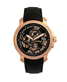 Reign Matheson Automatic Rose Gold Case, Genuine Black Leather Watch 45mm