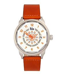 Reign Lafleur Automatic Silver Case, Genuine Orange Leather Watch 45mm