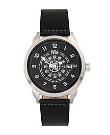 Lafleur Automatic Black Dial, Silver Case, Genuine Black Leather Watch 45mm