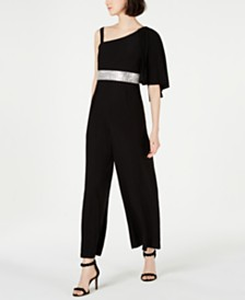 R & M Richards One-Shoulder Embellished Jumpsuit