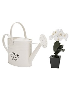 Mind Reader Iron Flower Water Pitcher with Water Spout Watering Can