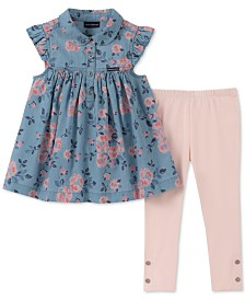 Calvin Klein Baby Girls 2-Pc. Floral-Print Denim Tunic & Leggings Set
