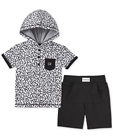 Calvin Klein Baby Boys 2-Pc. Printed Hoodie & French Terry Shorts Set