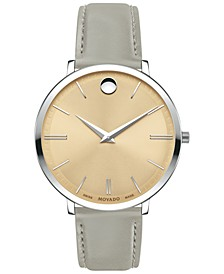 Women's Swiss Ultra Slim Gray Leather Strap Watch 35mm
