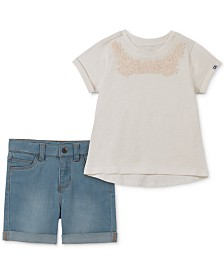 Calvin Klein Baby Girls 2-Pc. Lace-Trim T-Shirt & Denim Shorts Set