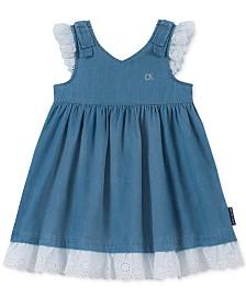 Calvin Klein Baby Girls Denim & Eyelet Dress