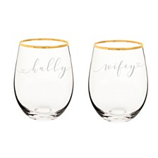Cathy's Concepts Hubby & Wifey 19.25 oz. Gold Rim Stemless Wine Glasses