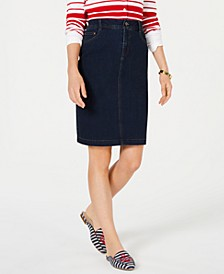 Petite Tummy-Control Denim Skirt, Created for Macy's