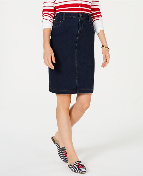 Charter Club Petite Tummy-Control Denim Skirt, Created for Macy's