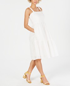 Vince Camuto Petite Cotton Eyelet Tiered Dress