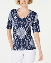 6f4a6ae95cde6 Karen Scott Petite Bandana Lace Printed Top, Created for Macy's