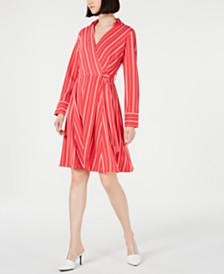 Calvin Klein Striped Fit & Flare Wrap Dress