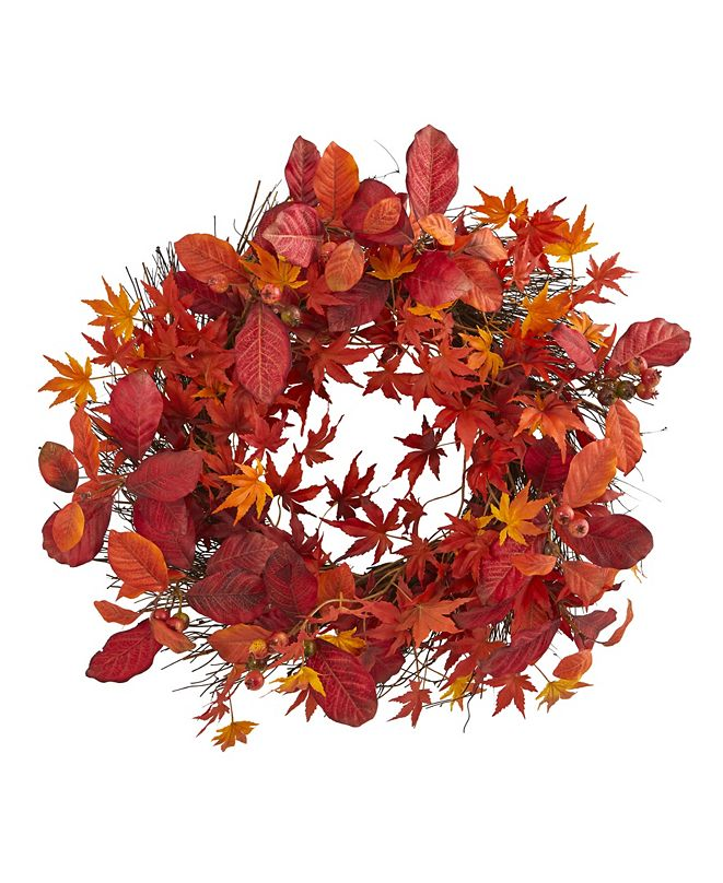 """Nearly Natural 22"""" Japanese Maple, Magnolia Leaf and Berries Artificial Wreath"""