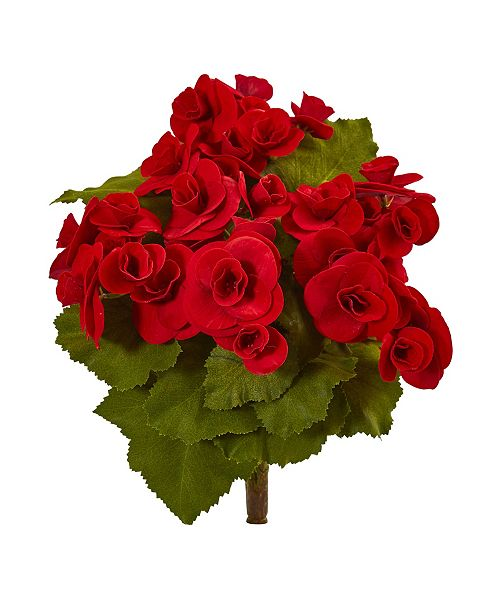 """Nearly Natural 11"""" Begonia Bush Artificial Flower (Set of 4)"""
